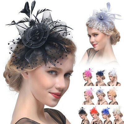Vintage Fascinator Feather Beaded Flower Headband Fashion Party Head Hair Clip