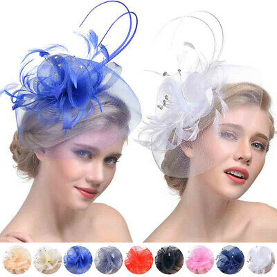 New Women Feather Mesh Looped Net Hair Clip Flower Cocktail Tea Party Headwear