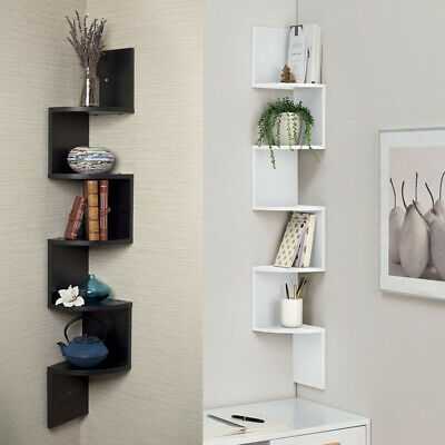 2/3/5 Tiers Wood Corner Shelves Shelf Space-Saving Floating Rack Display Storage