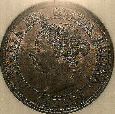 1891 CANADA LARGE CENT PENNY 1 CENT COIN - LDLL Obv#3 ANACS MS-63 Brown