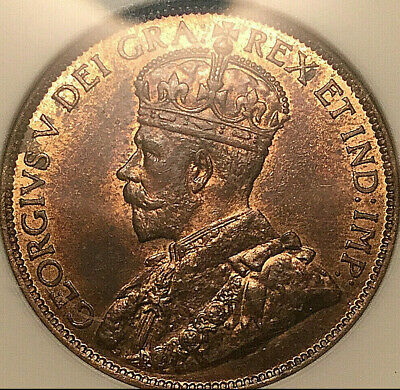 1913 CANADA LARGE CENT PENNY 1 CENT COIN - ANACS MS-64 Red/Brown uncirculated