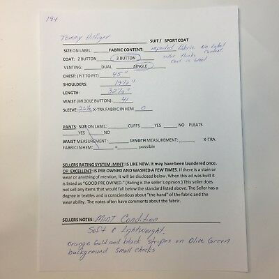 Tommy Hilfiger Blazer  42R Soft Wool Olive Green 3 Button Single Vent Sport Coat