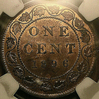 1896 CANADA LARGE CENT PENNY COIN 1 CENT - Far 6 variety - NGC MS-64 Red/brown