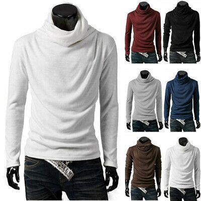 UK Mens Casual Turtle Neck Pullover Knit Jumper Tops Warmer Sweater Shirt Blouse