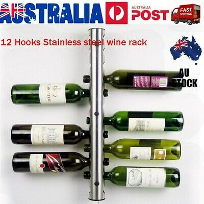 Stainless Steel Wine Rack Bar Wall Mounted Kitchen Holder 12 Bottles Silver VIC