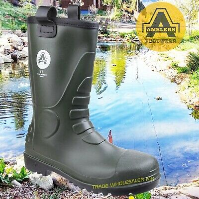 Amblers Green Rubber/PVC Safety Wellington Rigger Boots Fur Lined Steel Toe FS97
