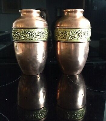 Antique Art Nouveau Arts & Crafts Pair Of Copper Vases With Brass Repousse Band