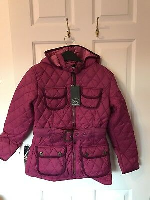 Girls Firetrap Hooded Quilted Padded Zipped Jacket Raspberry Age 12 To 13