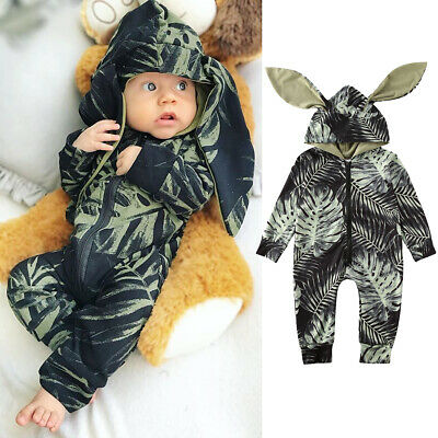 UK Newborn Kid Baby Boy Girl Hooded Clothes Zipper Romper Jumpsuit Winter Outfit