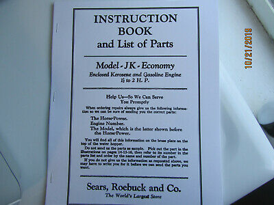 1931 Sears Economy model JK 1 1/2HP Gas Kero Engine  Instruction/Parts Manual
