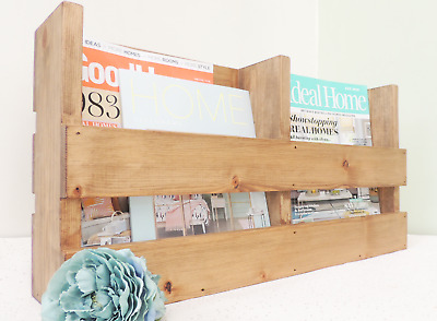 Magazine rack, recipe book display, wooden decor, newspaper storage, wooden home