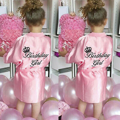 Stylish Toddler Baby Silk Satin Kimono Robes Bathrobe Birthday Girls Sleepwear