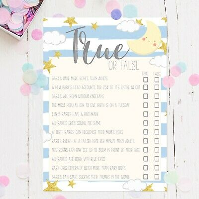Baby Shower Games True or False Trivia Quiz Baby Boy Blue Moon Favours Mum To Be