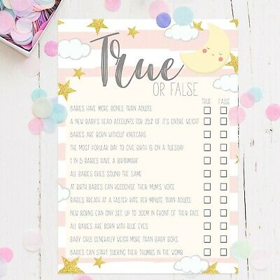 Baby Shower Games True or False Trivia Quiz Baby Girl Pink Moon Favour Mum To Be