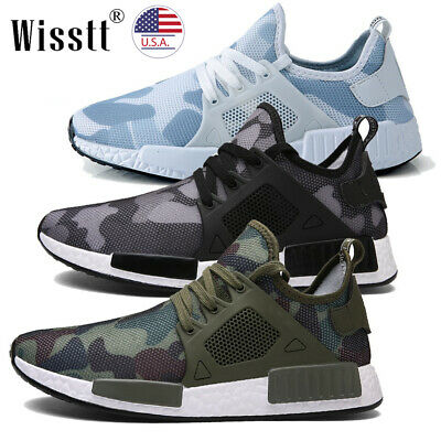 Mens Athletic Casual Sneakers Outdoor Running Breathable Sports Shoes Army Green