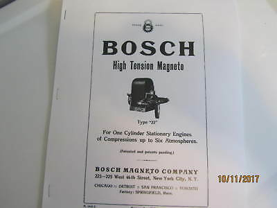 Bosch Type 22 High Tension Magneto Instructions, parts list, Care and Operation