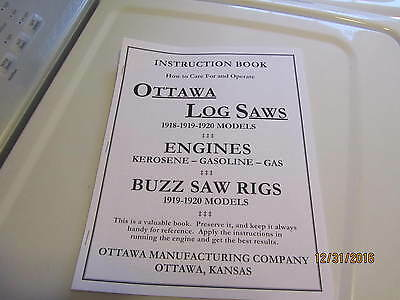 Ottawa Gas/kero  Engine Log Saw/ buzz saw Instruction book manual