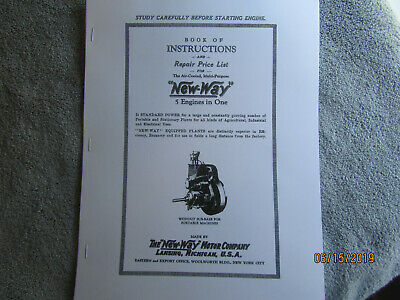 New Way Motor Co All Purpose  Air Cooled Gas Engine Instruction & Parts Manual