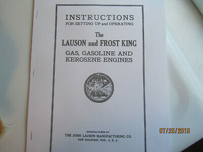 1916 Lauson, Frost King Gas Kerosene Engine Instruction Parts Manual John Lauson