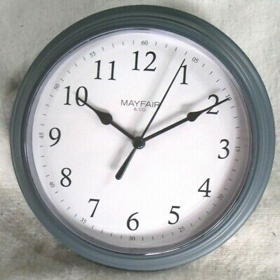 Mayfair & Co - Retro Battery Wooden Wall Clock - Grey - Home Kitchen Living Room