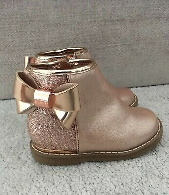 Ted Baker Girls Ankle Boots Size 5 Infant Baby Rose Gold Wow Pink Winter Chelsea