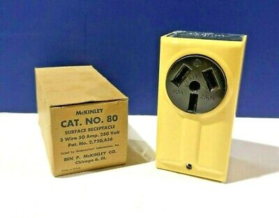 IVORY & BROWN Surface Receptacle 3 Wire 50A 250V NEW McKinley 80 WOW!