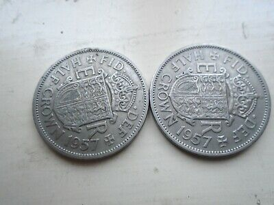 Two 1957 Half Crown Coins for the collector.