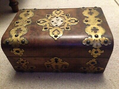 Antique VIctorian Burr Walnut Wood Box Ornate Brass Decoration Lock Key Working