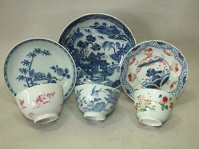 3 Chinese Saucers And 3 Bowls With Various Decor 18Th Century