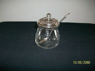 Nice Antique Kirk & Son Repousse Floral Decorated Glass Jar Sterling Lid & Spoon
