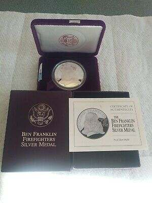 1993-P US 1oz .999 SILVER Proof BEN FRANKLIN FIREFIGHTERS MEDAL BOX & COA
