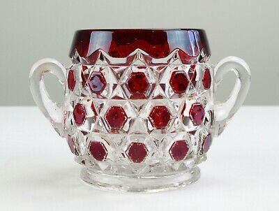 Fostoria Captain Kidd w Ruby Red Stain Open Sugar, Antique EAPG Virginia, Block