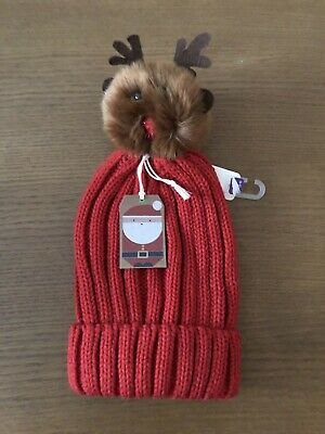 BNWT Girls Red Christmas Reindeer Beanie Hat By Next (Age 11-13 Yrs)
