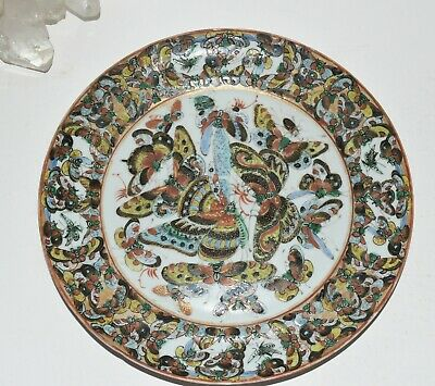 Antique Vtg Japanese Hand Painted Moth Butterfly Insect Porcelain Plate