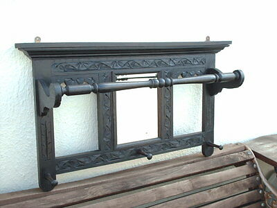 Antique Carved Oak Wall Hanging Hall Stand