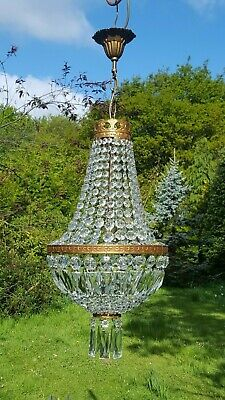 Beautiful Vintage French 1950's brass empire chandelier with glass drops (J340)