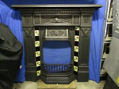 Original Tiled Cast Iron Combination Fireplace - Late 19th Century / Victorian