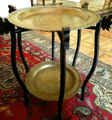 Vintage Brass Tray Table 2 Tier Wood Bamboo Stand Asian Modern Mid Century