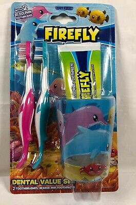 DOLPHIN Toothbrush dental set 2 toothbrushes beaker and toothpaste