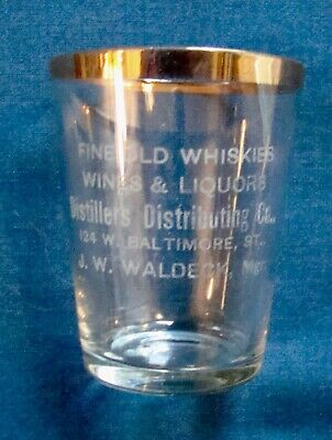 Distillers Distributing Co. Shot Glass, 124 W. Baltimore St., Baltimore, MD.