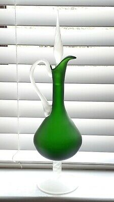 Empoli Frosted Green Claret Jug Decanter