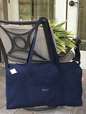 Vera Bradley Large Traveler Duffel Bag Classic Navy Blue Overnight Tote $108