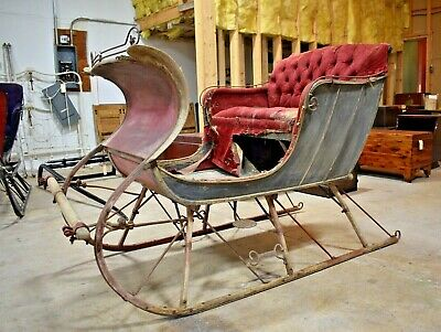 Antique Portland Cutter Horse Drawn Sleigh Black Red Sled