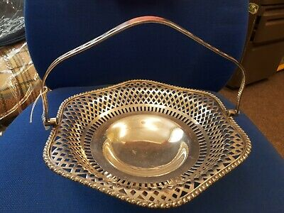 Quality Antique  stylish Epns silver plate pierced basket with handle