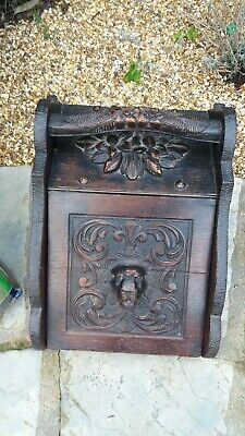 Oak Hand Carved Gothic Coal Box, Beautiful and Sturdy, Good Condition, Unusual