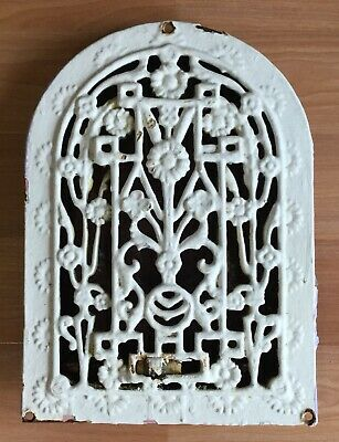 Old Vtg Antique Cast Iron Arched Dome Top Wall Heat Grate Register Floral 8 X 10