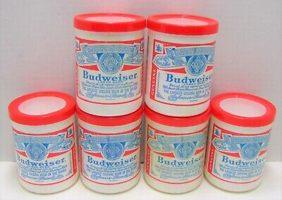 Six Budweiser Beer Koozies For Cans Vintage Styrofoam Made in USA