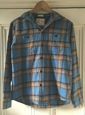 Fat Face Boys' Blue Brown Checked Hooded Long-Sleeve Shirt 12-13 Years 152-158cm