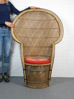 Vintage Majestic Chair Exotic a Peacock in Rattan Inweaved 134CM