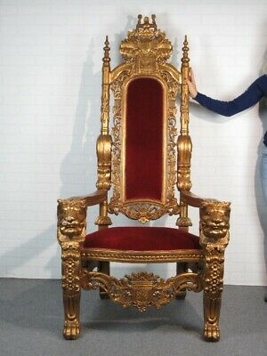 Important Throne Armchair Royal Wood Golden with Heads Lion Xx Century